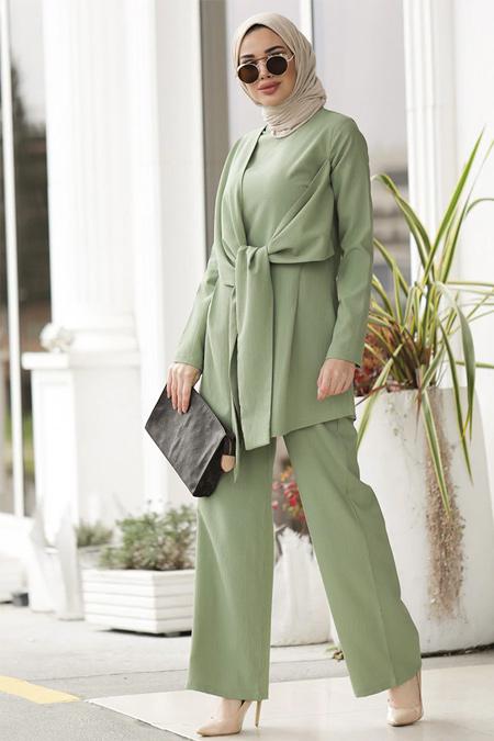 Lavienza Mint İpek Pantolon & Tunik İkili Takım
