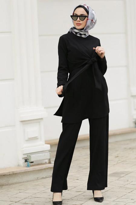Lavienza Siyah İpek Pantolon & Tunik İkili Takım