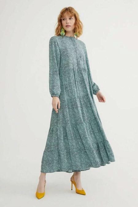Melike Tatar Yeşil Lara Çiçekli Elbise
