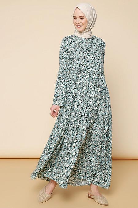 Mnatural Çağla Çiçek Desenli Elbise