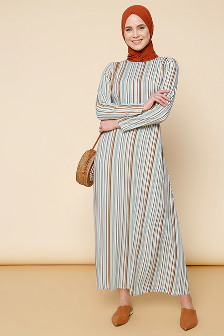 Mnatural Çağla Doğal Kumaşlı Çizgili Elbise