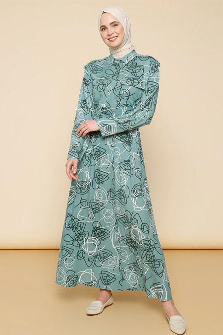 Mnatural Çağla Boydan Düğmeli Beli Bağcıklı Elbise