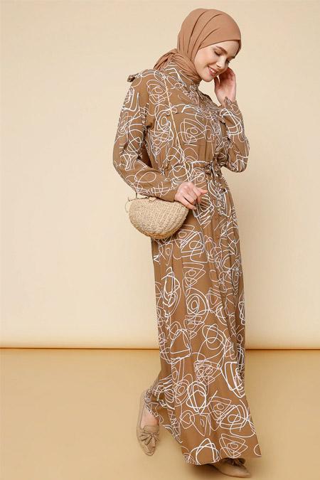 Mnatural Camel Boydan Düğmeli Beli Bağcıklı Elbise
