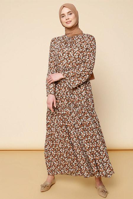 Mnatural Kahverengi Çiçek Desenli Elbise