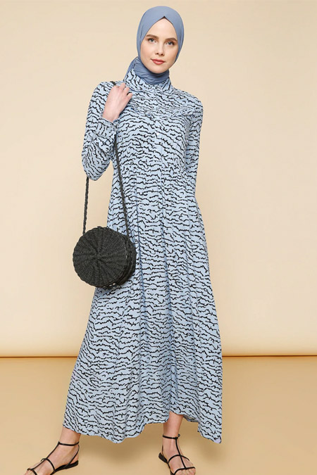 Mnatural Mavi Desenli Elbise