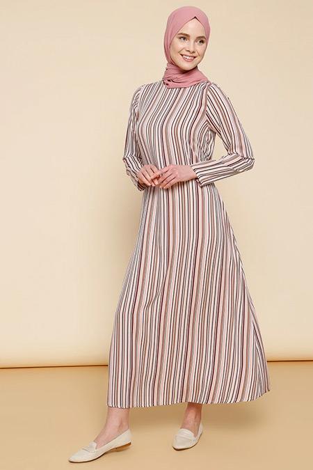 Mnatural Pudra Doğal Kumaşlı Çizgili Elbise