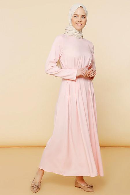 Mnatural Pudra Doğal Kumaşlı Düz Renk Elbise
