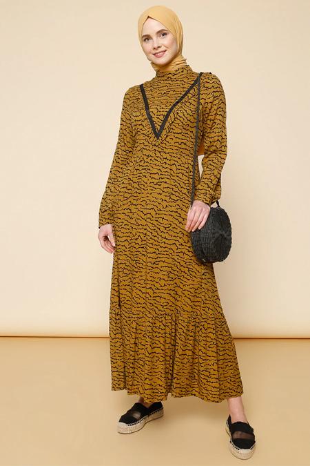Mnatural Tarçın Desenli Elbise