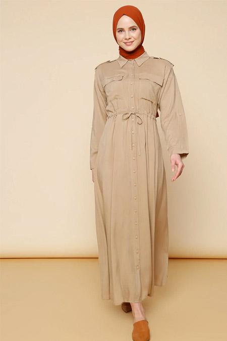 Mnatural Taş Boydan Düğmeli Beli Bağcıklı Elbise