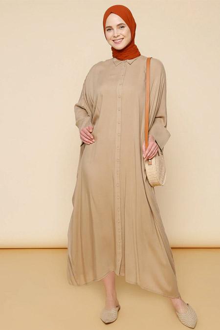 Mnatural Taş Doğal Kumaşlı Salaş Elbise