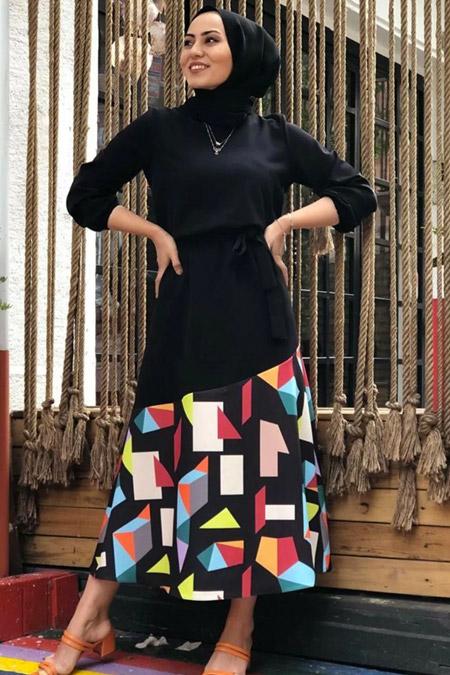 Modastilbutik Geometrik Detay Renkli Elbise