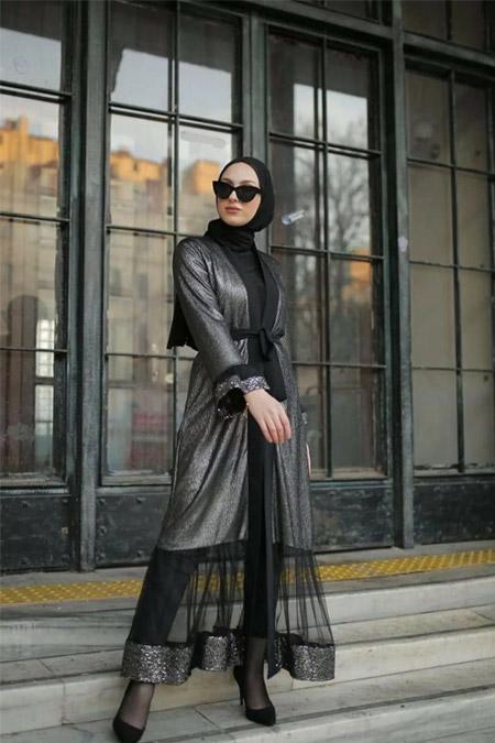 Modastilbutik Parlak Kumaş Abaya