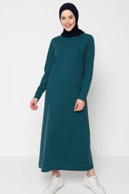 Muni Muni Yeşil Çizgili Elbise