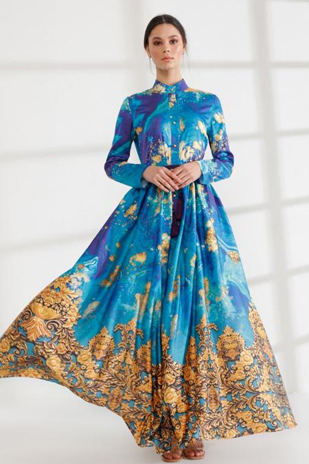 Mustafa Dikmen Turkuaz Border Desen Abiye Elbise