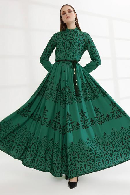 Mustafa Dikmen Yeşil Border Desen Abiye Elbise