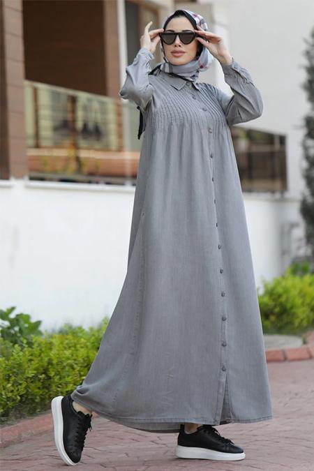 Neways Gri Nervürlü Tensel Elbise