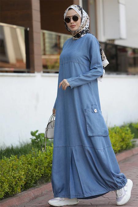 Neways Mavi Cep Detaylı Tensel Elbise