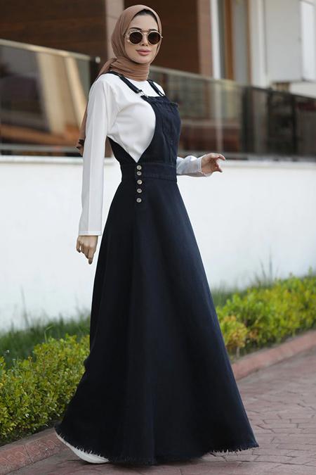 Neways Siyah Kot Salopet Elbise
