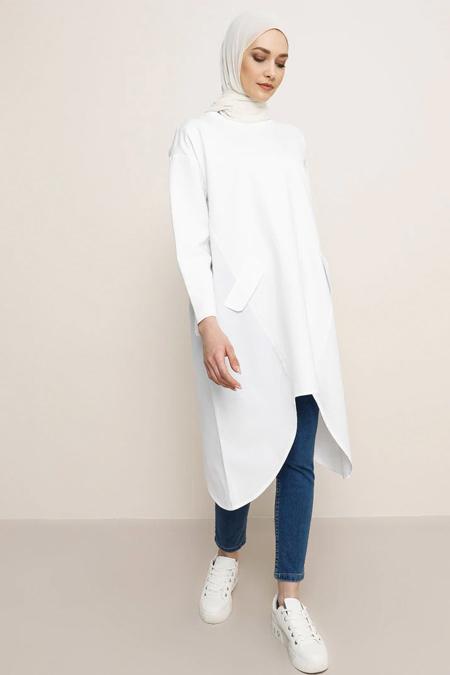 Refka Beyaz Garnili Tunik