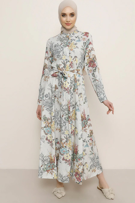 Refka Ekru Doğal Kumaşlı Desenli Elbise