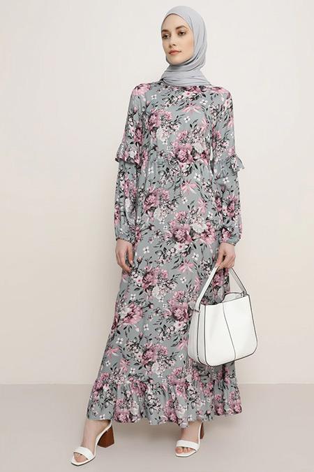 Refka Gri Bej Doğal Kumaşlı Çiçek Desenli Elbise
