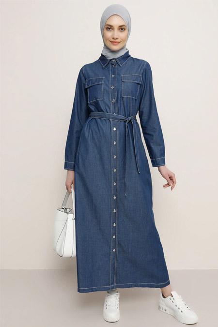 Refka Lacivert Boydan Düğmeli Kot Elbise