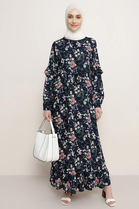 Refka Lacivert Doğal Kumaşlı Çiçek Desenli Elbise