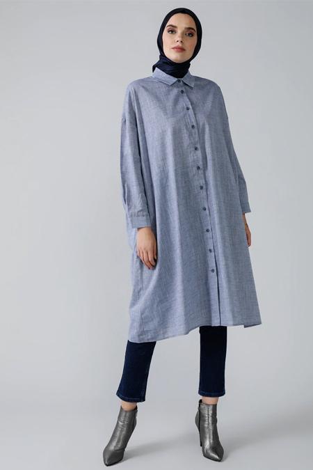 Refka Lacivert Doğal Kumaşlı Cep Detaylı Oversized Tunik