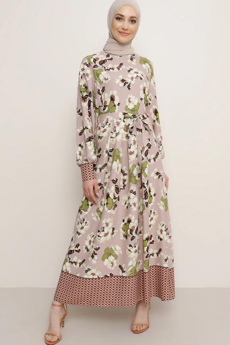 Refka Pudra Çiçek Desenli Elbise