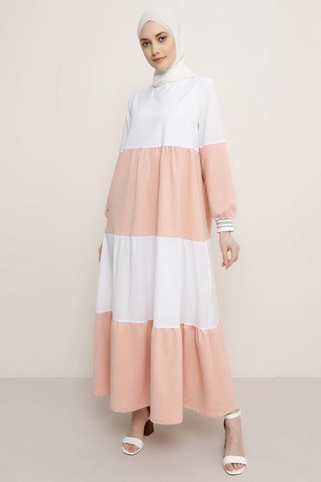 Refka Somon Beyaz Ribana Kollu Garnili Elbise