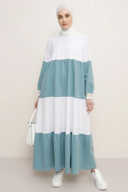 Refka Su Yeşili Beyaz Ribana Kollu Garnili Elbise