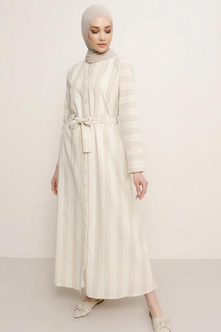 Refka Vizon Boydan Düğmeli Beli Kuşaklı Elbise