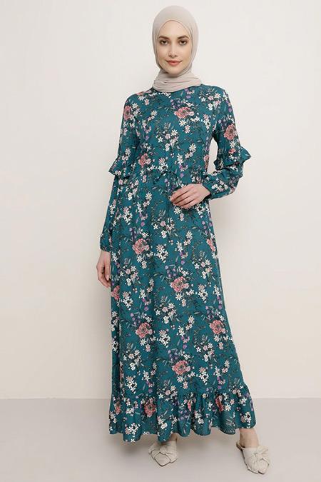 Refka Yeşil Doğal Kumaşlı Çiçek Desenli Elbise