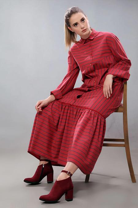 SAHRA AFRA Bordo Forget Elbise