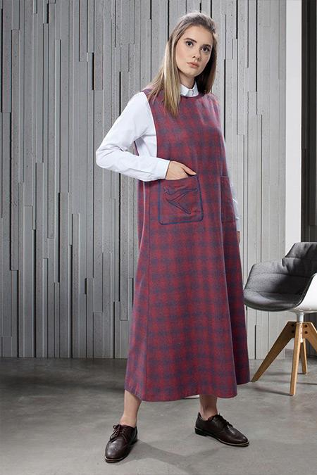 SAHRA AFRA Bordo Furrier Elbise