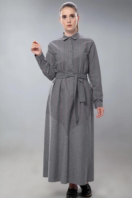 SAHRA AFRA Füme Tenty Elbise