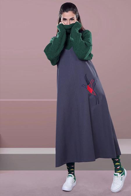 SAHRA AFRA Gri Bobble Elbise