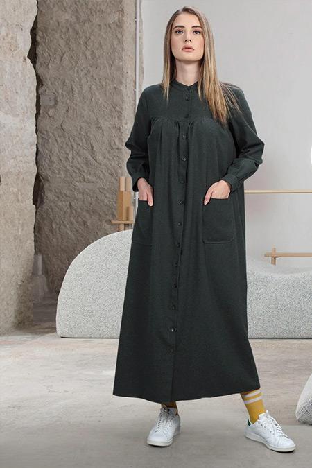 SAHRA AFRA Haki Fuss Elbise