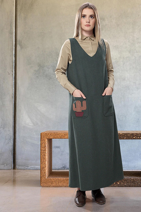 SAHRA AFRA Haki Kaktüs Elbise