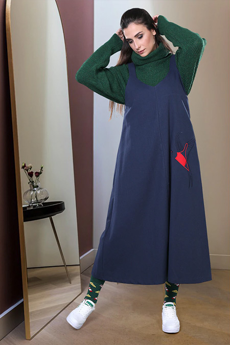 SAHRA AFRA Lacivert Bobble Elbise
