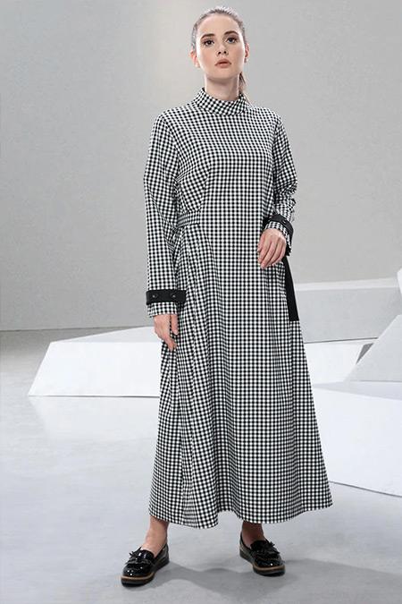 SAHRA AFRA Siyah Beyaz Pötikare Elbise