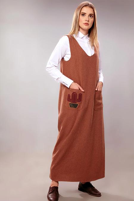 SAHRA AFRA Taba Kaktüs Elbise