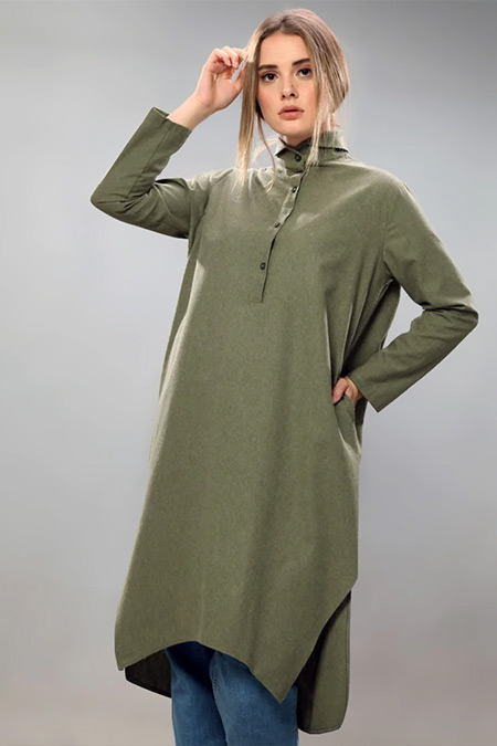 SAHRA AFRA Yeşil Creed Tunik