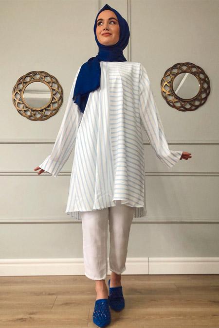 Sazze Design Açık Mavi Çizgili Tunik