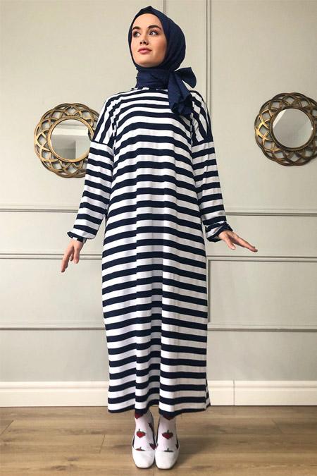 Sazze Design Lacivert Çizgili Elbise