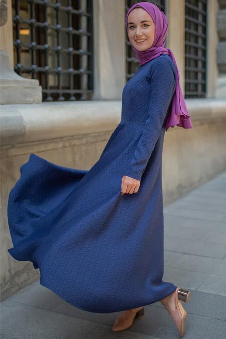 Sazze Design Lacivert Lime Elbise