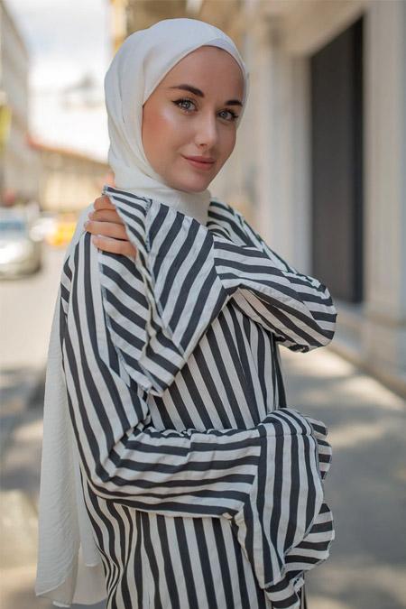 Sazze Design Siyah Çizgili Elbise