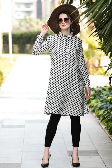 Selma Sarı Design Beyaz Puantiyeli Keten Tunik
