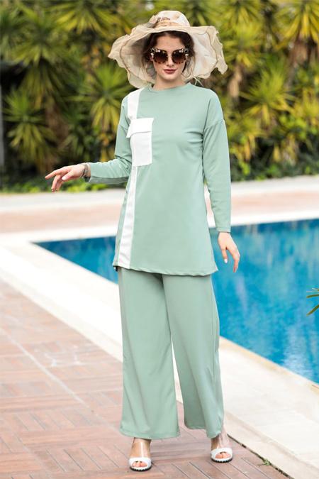 Selma Sarı Design Mint Tunik & Pantolon Garnili İkili Takım