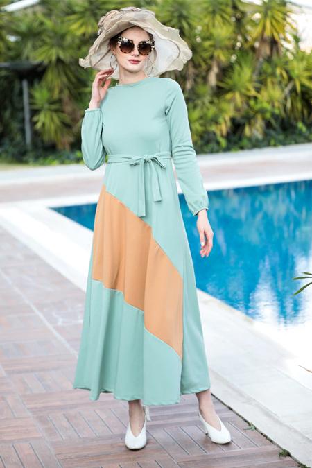 Selma Sarı Design Mint Yeşili Bej Garnili Elbise